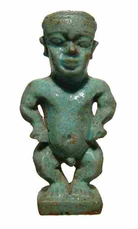 Fantastic Egyptian green glazed faience Pataikos amulet