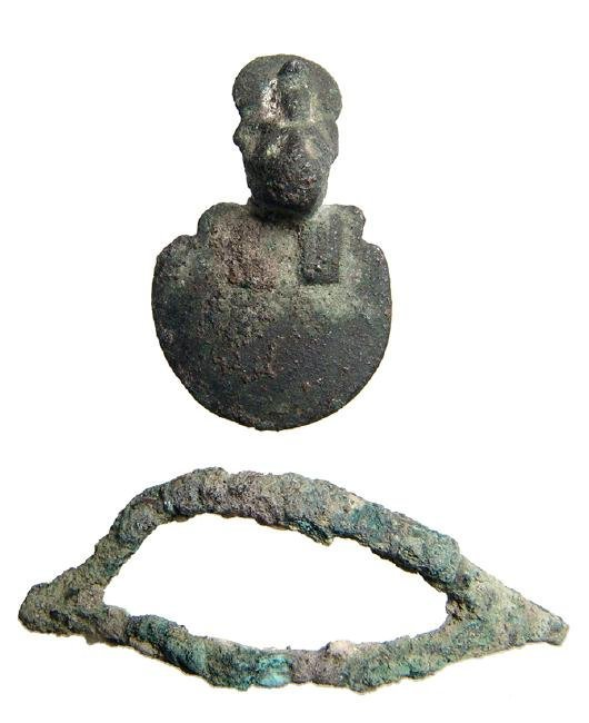 A pair of Egyptian bronze objects, Late Period