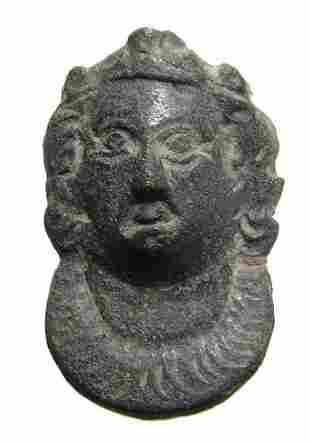 Roman bronze mount in the form of a female bust