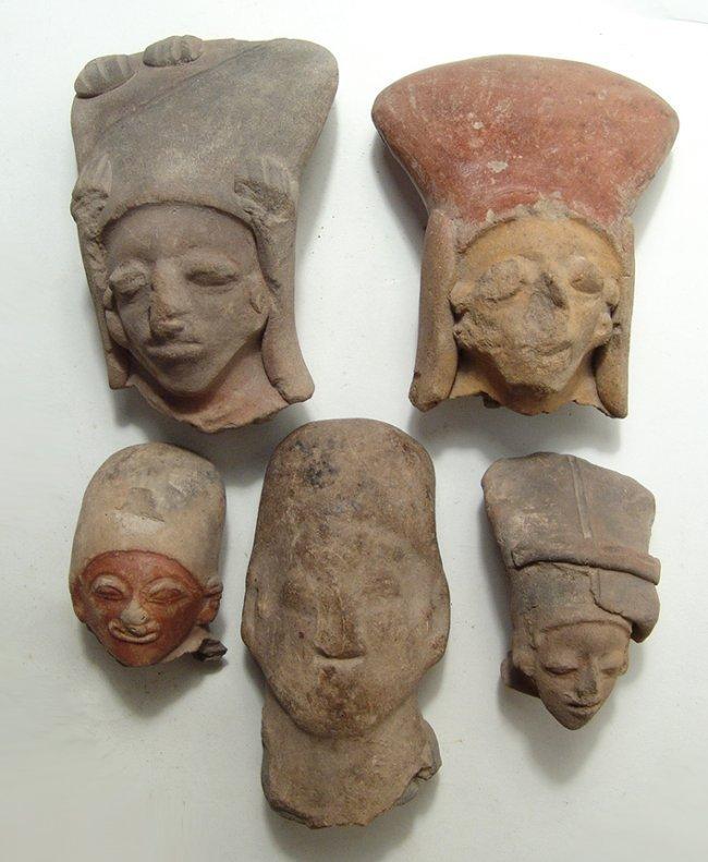 5 Jamacoaque and La Tolita-Tumaco large ceramic heads
