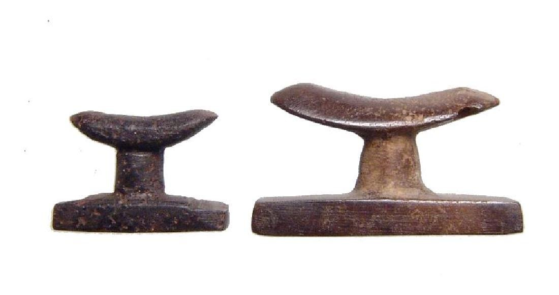 A pair of Egyptian stone headrest amulets, Late Period - 2
