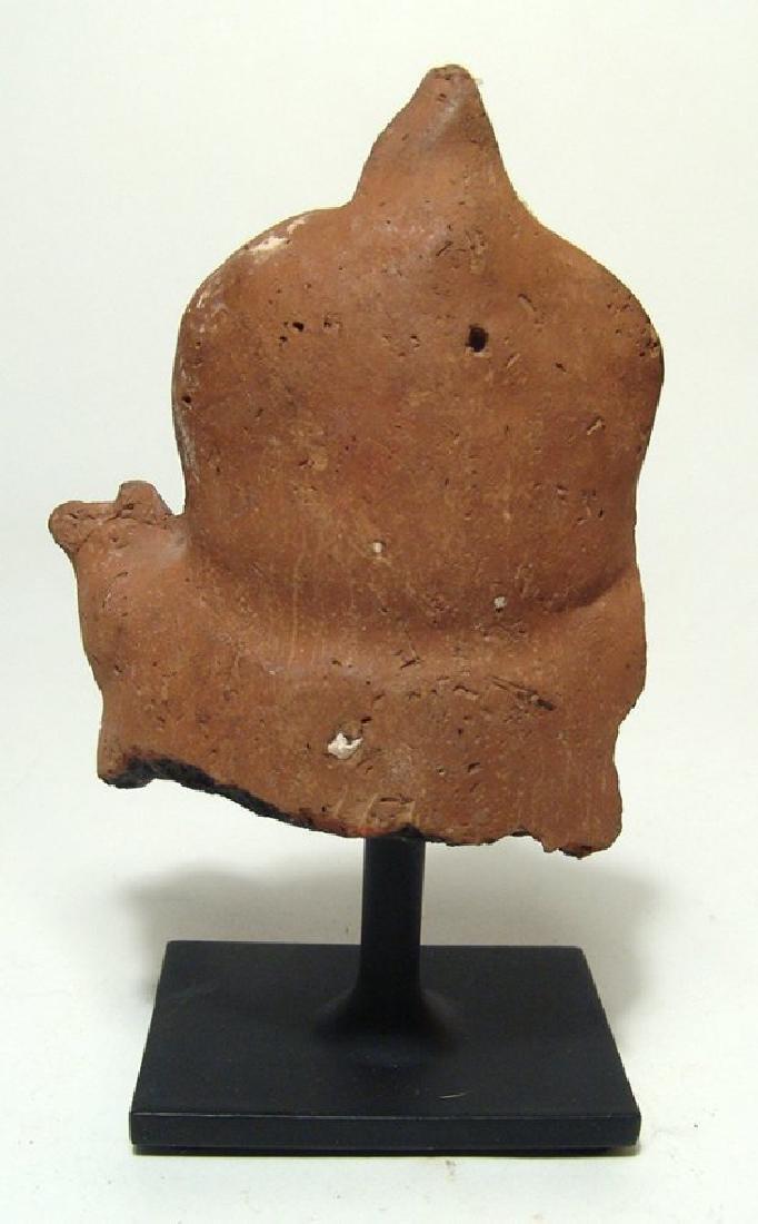 An Egyptian terracotta votive depicting seated pharaoh - 5