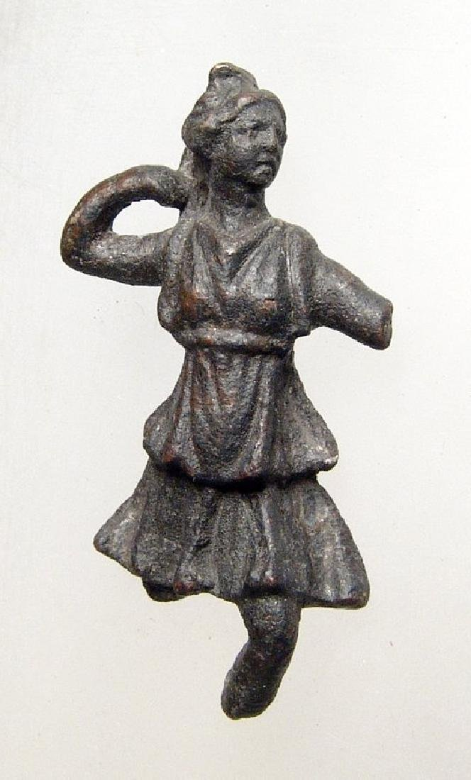 A lovely Roman bronze figurine of Diana
