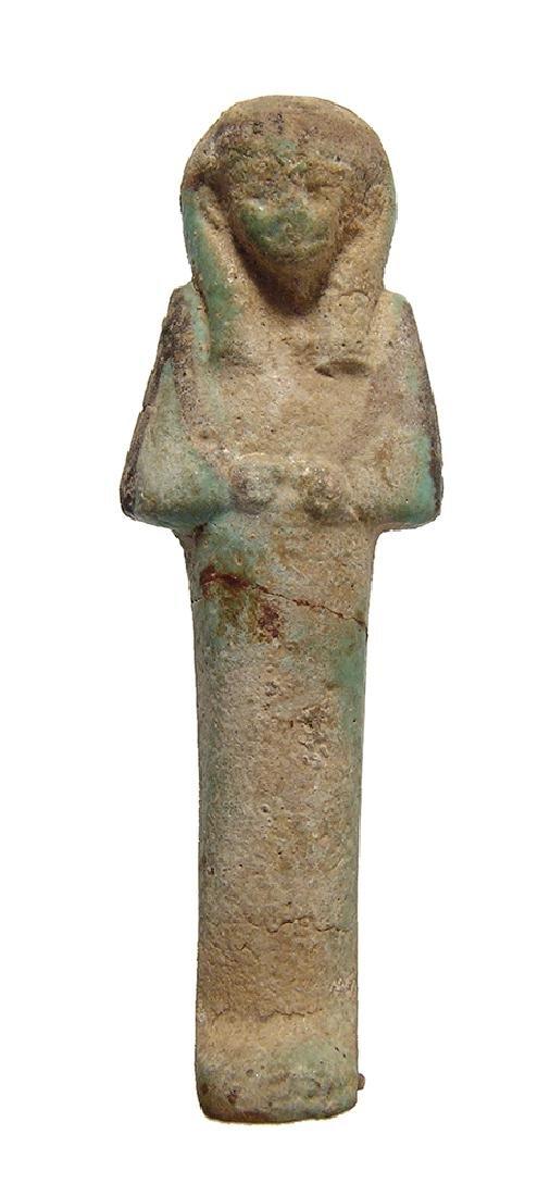 Egyptian faience bicolor ushabti, 3rd Intermediate