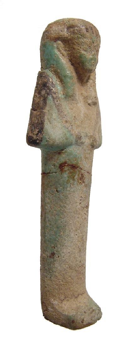 Egyptian faience bicolor ushabti, 3rd Intermediate - 2