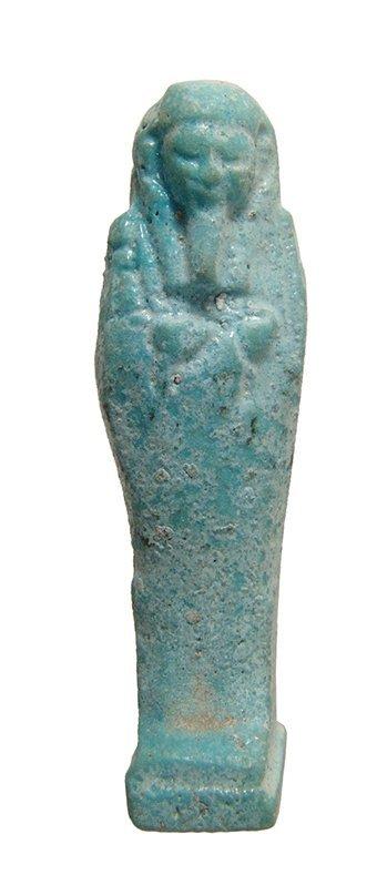 Attractive miniature Egyptian light blue glazed ushabti
