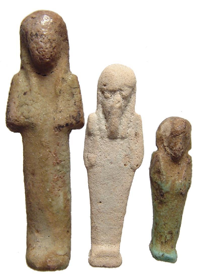 A nice trio of Egyptian faience ushabtis