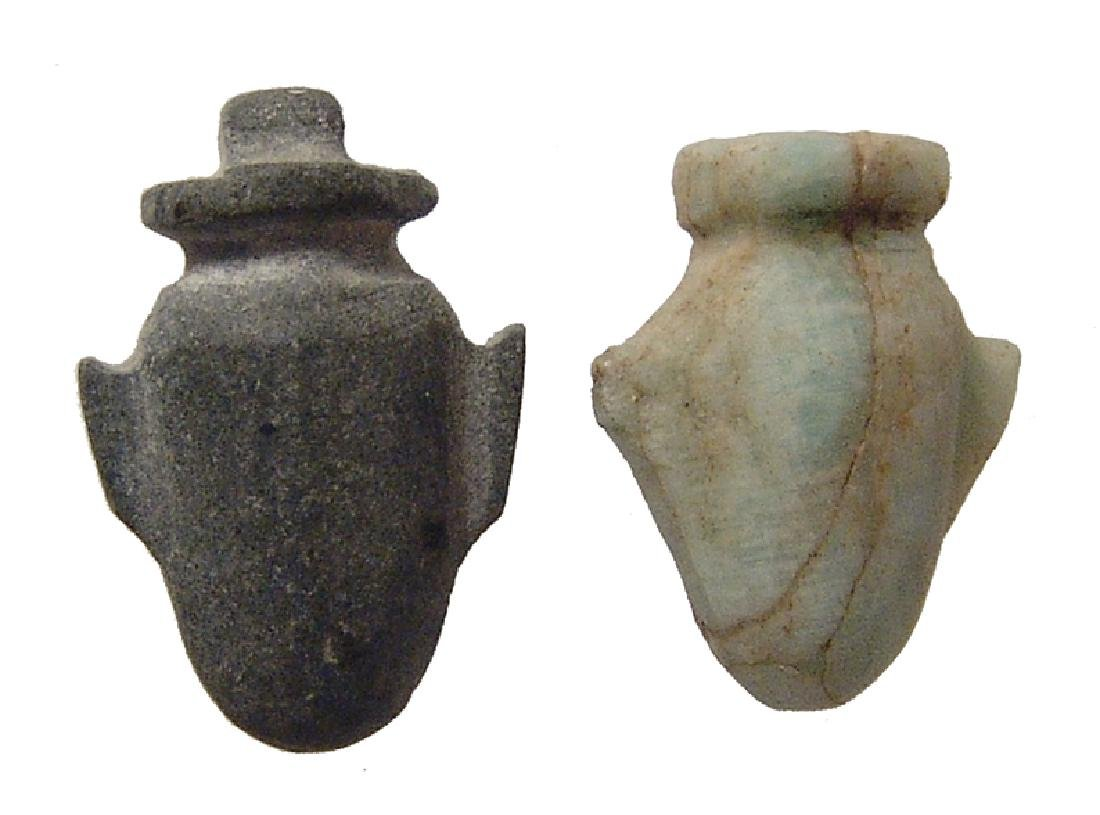 Pair of very nice stone Egyptian 'ib' or heart amulets