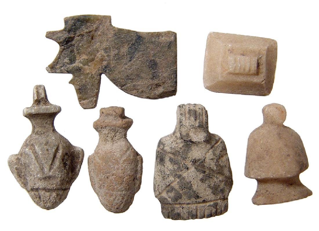 A lot of 6 Egyptian stone amulets, Late Period
