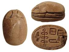 Interesting Egyptian steatite scarab, 2nd Intermediate