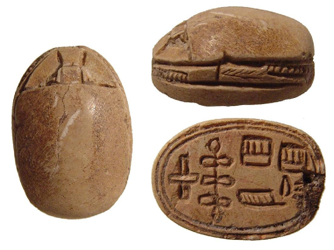 Interesting Egyptian steatite scarab, 2nd Intermediate