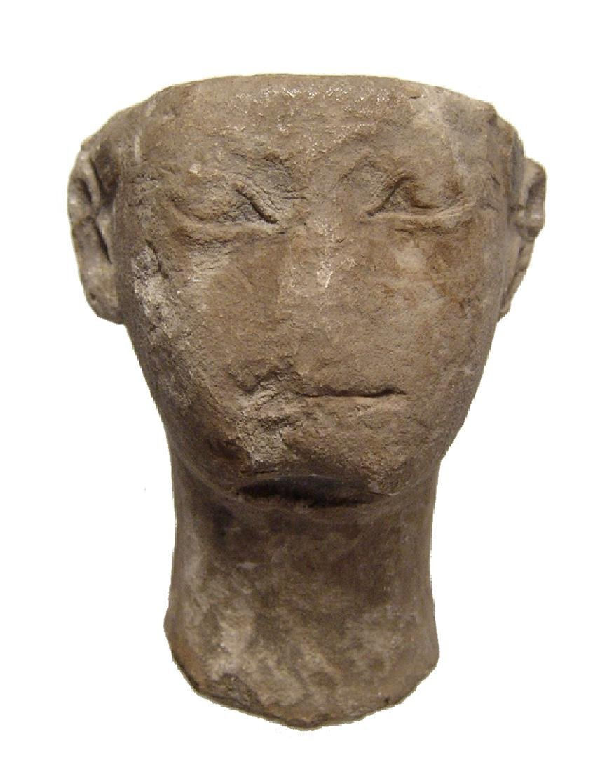 Egyptian limestone head of Pharaoh, Late Period