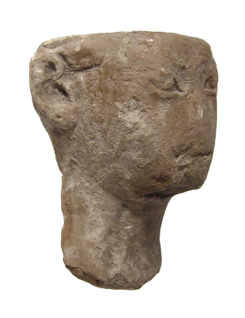 Egyptian limestone head of Pharaoh, Late Period - 2