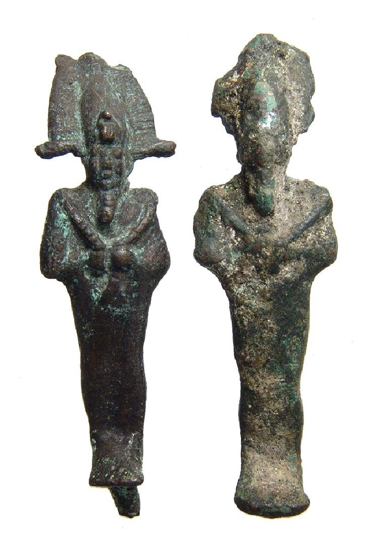 A nice pair of Egyptian bronze figurines of Osiris