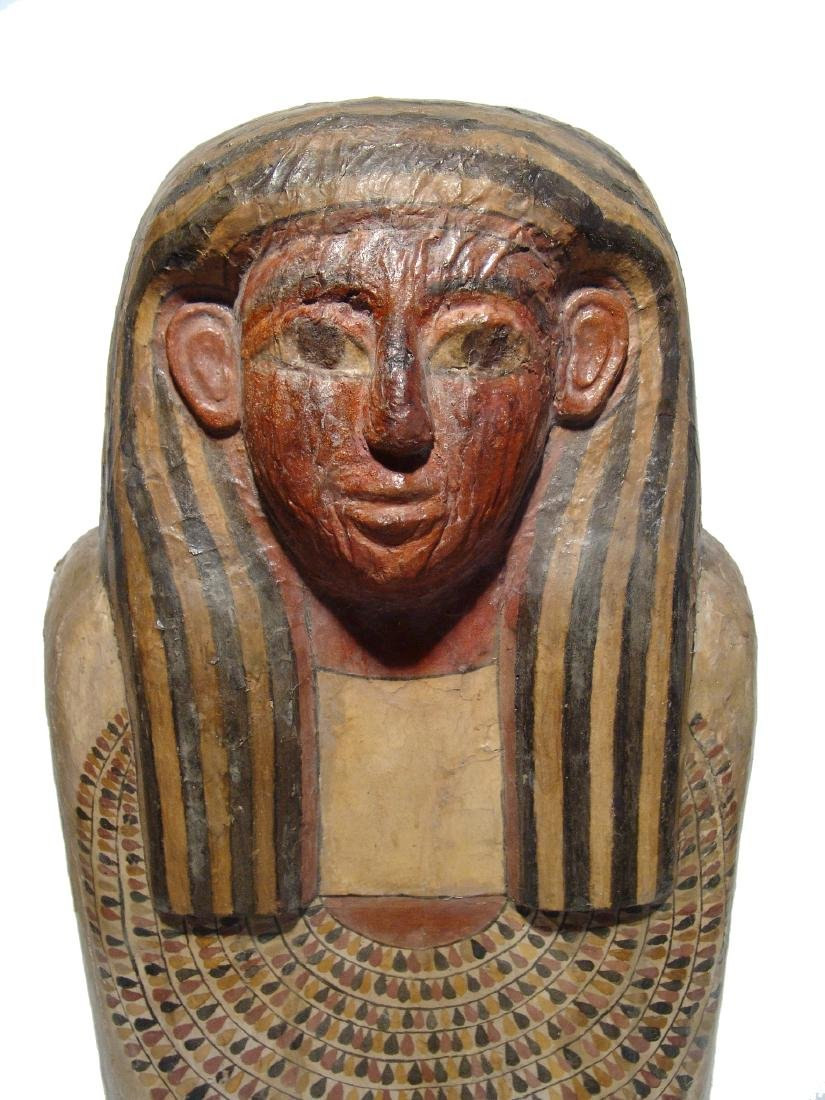 A stunning upper portion of an Egyptian sarcophagus lid - 2