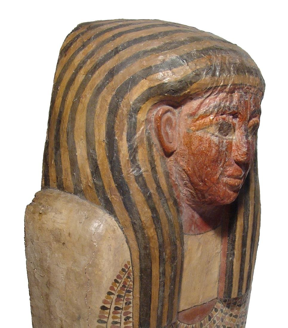 A stunning upper portion of an Egyptian sarcophagus lid - 4