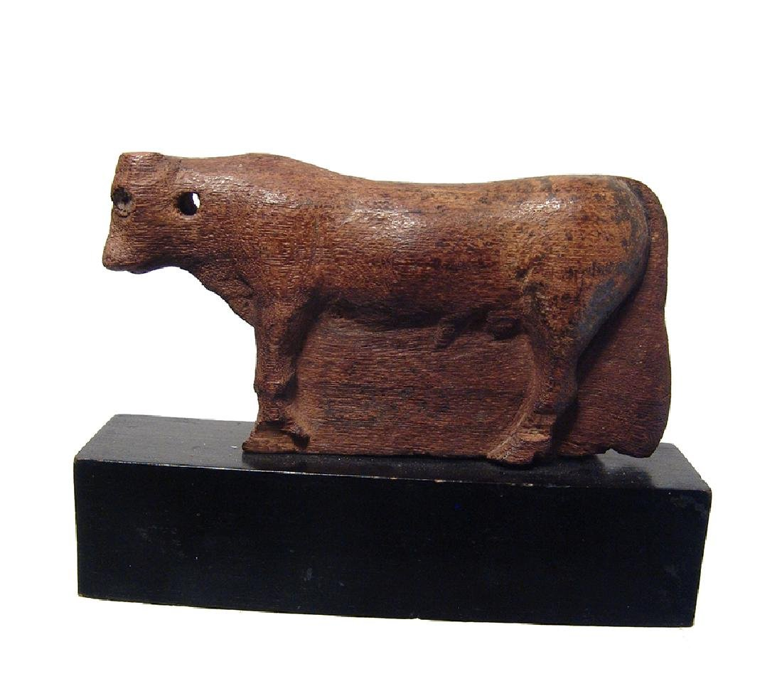 Extremely rare Egyptian wooden depiction of Apis Bull - 2