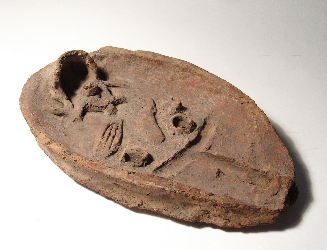 A rare Egyptian terracotta offering tray