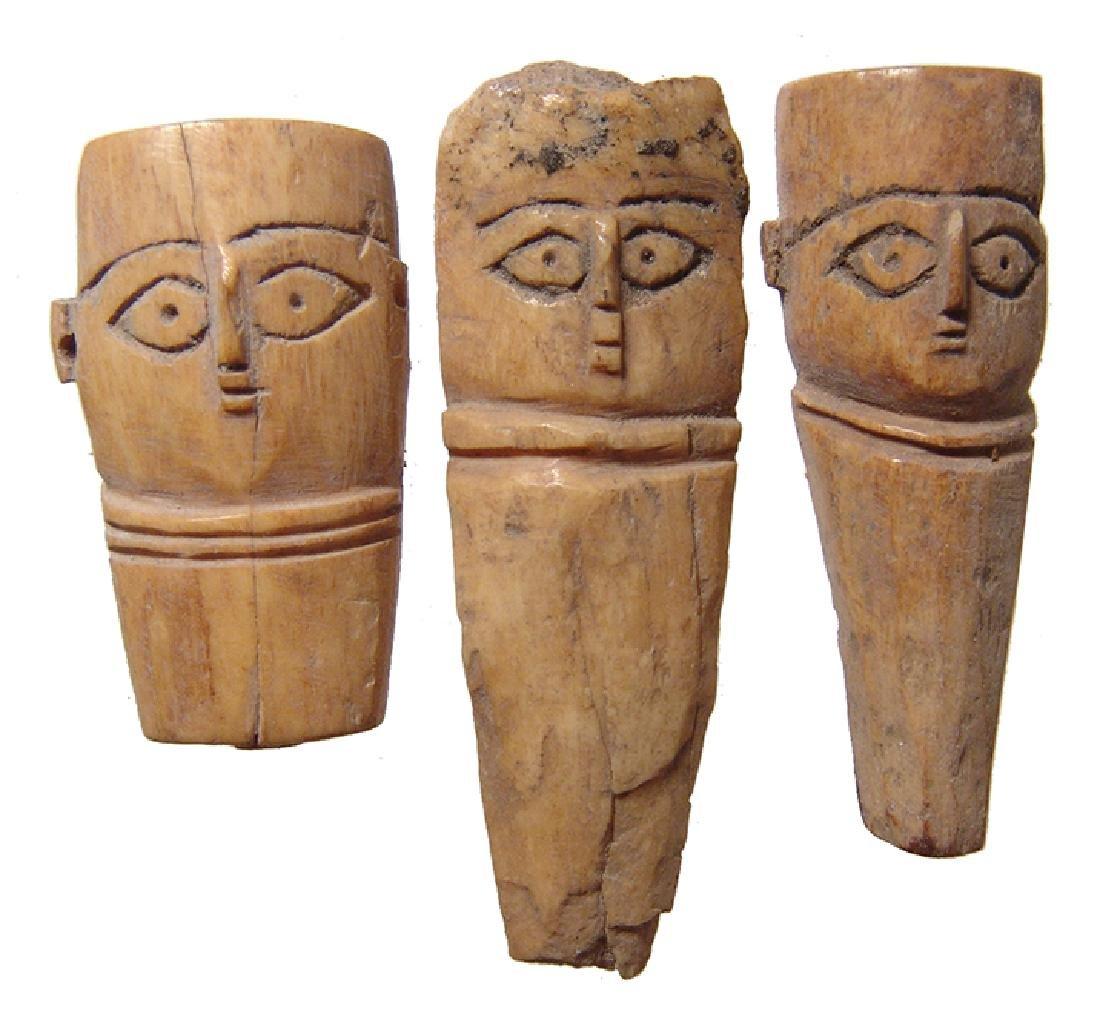 A lot of 3 Coptic bone heads from dolls
