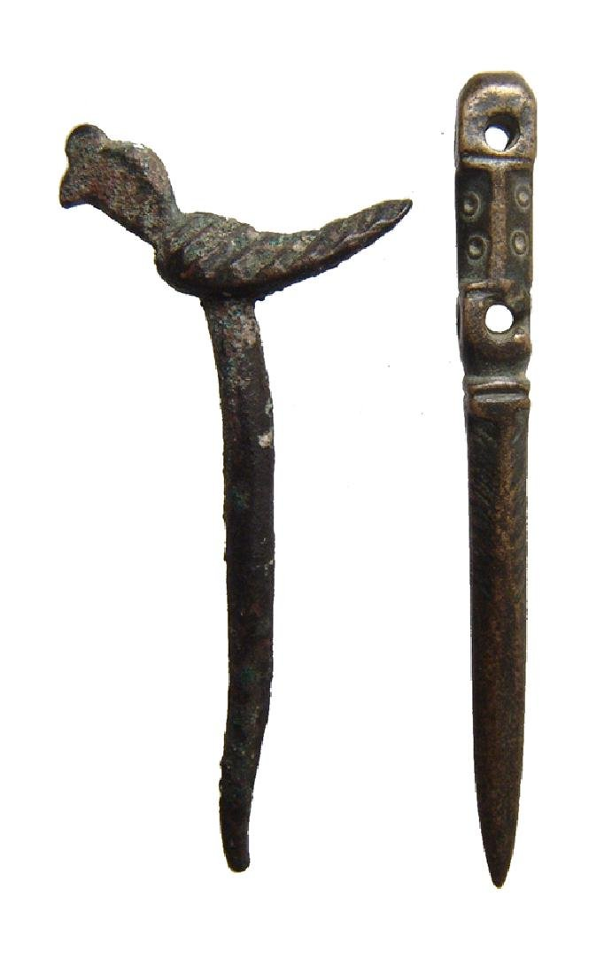 A pair of Near Eastern bronze cosmetic pins