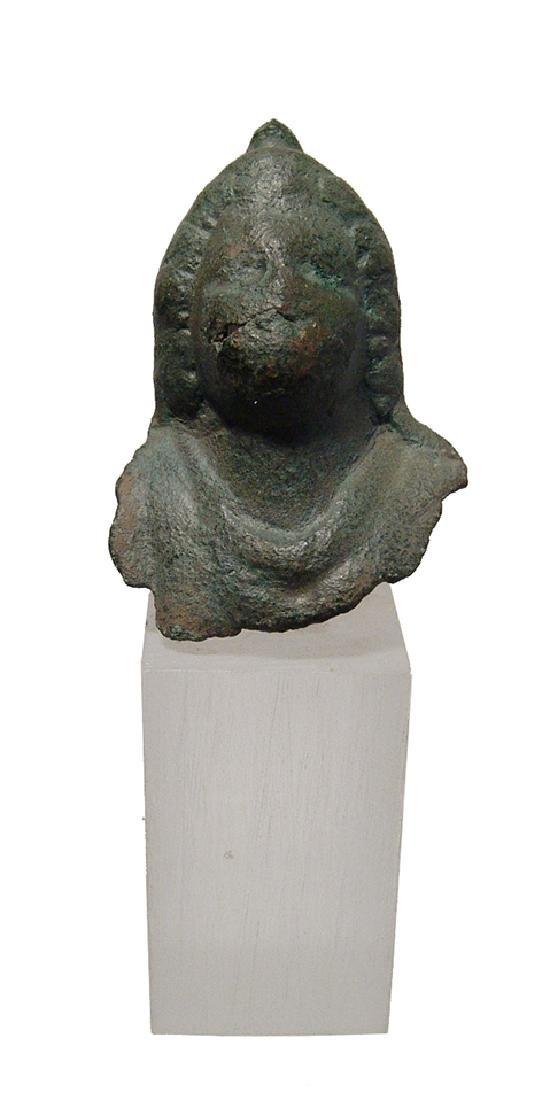Roman bronze bust of a male wearing a Phrygian cap