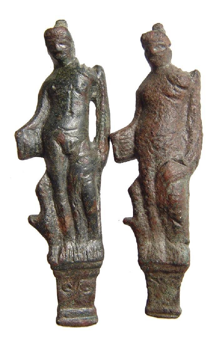 A pair of Roman bronze latches