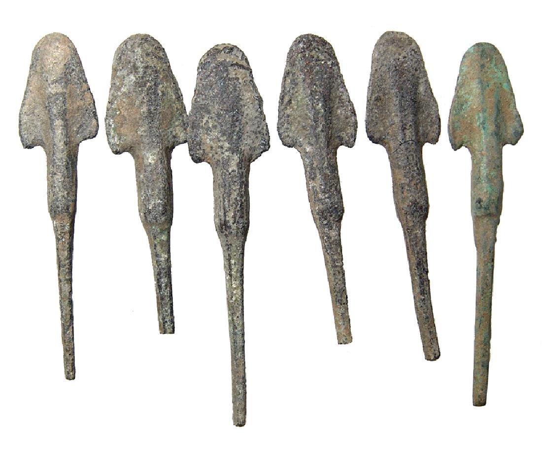 A group of 6 Near Eastern bronze arrow heads