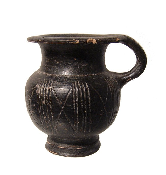 A Greek black-glazed olpe, 4th Century BC
