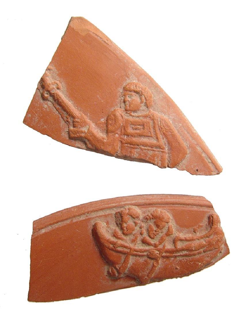 A pair of nice Roman terra sigillata fragments