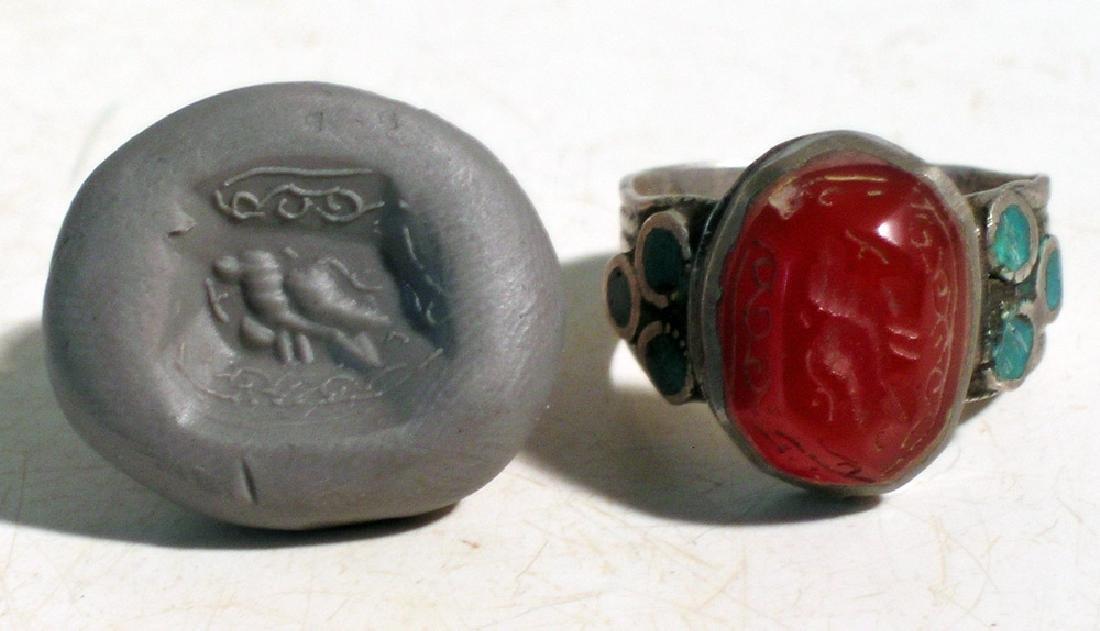 Sasanian carnelian intaglio set into a silver ring