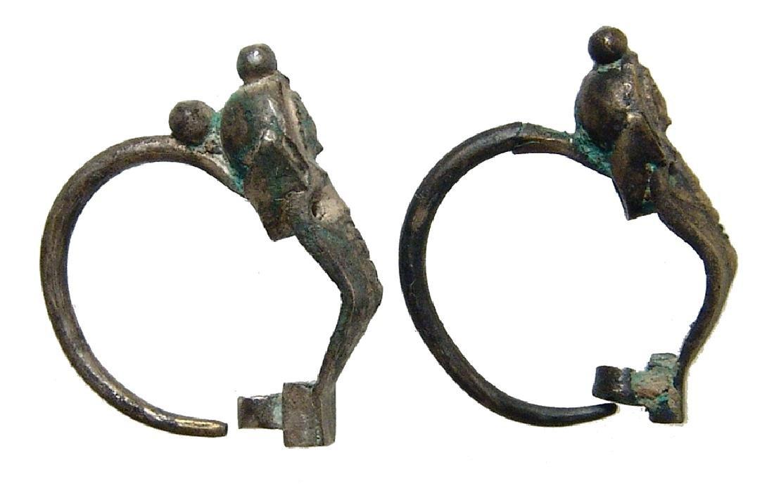 A pair of Parthian silver earrings