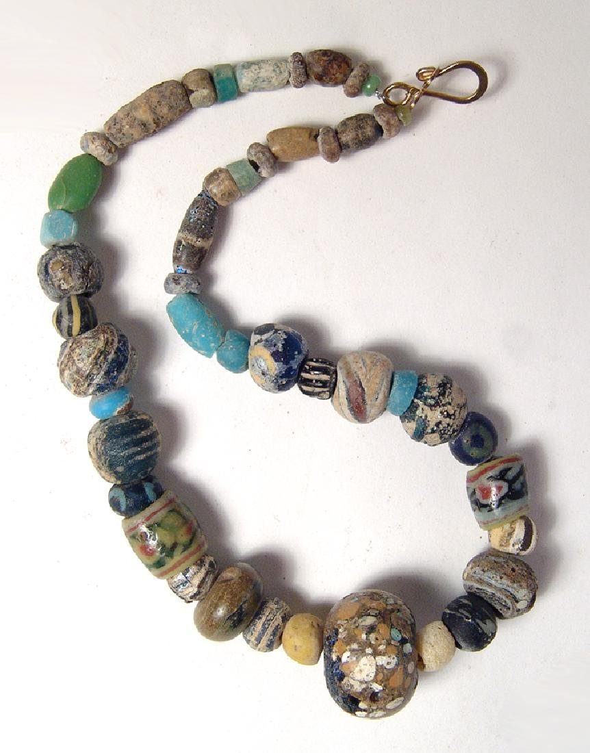 Fantastic necklace with ancient mosaic glass beads