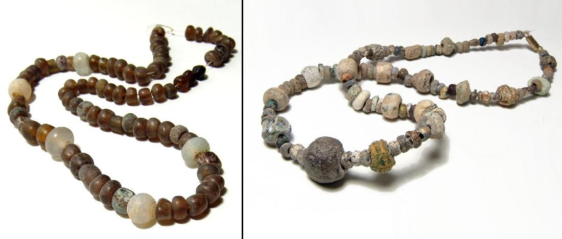 Two nice strands of ancient stone and glass beads