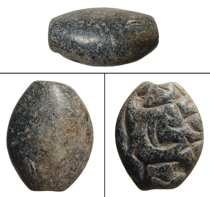 An Ubaid black chlorite stamp seal, Mesopotamia