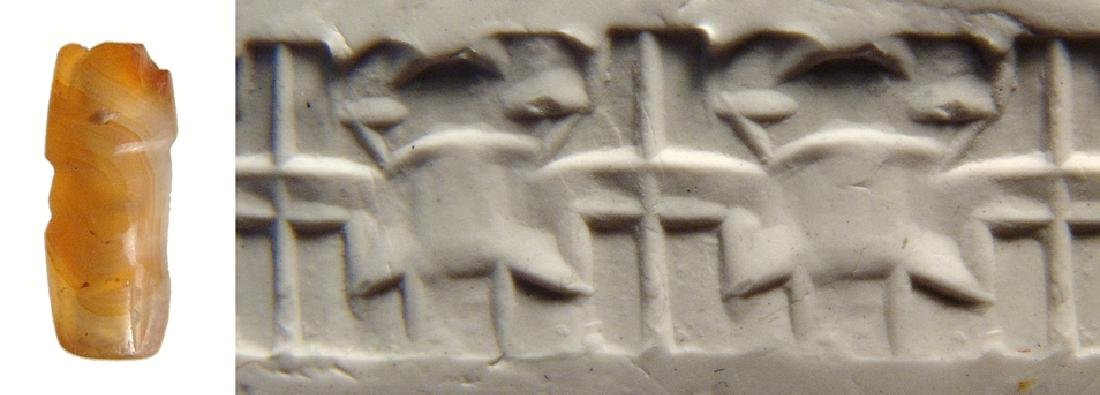 A small Levantine carnelian cylinder seal