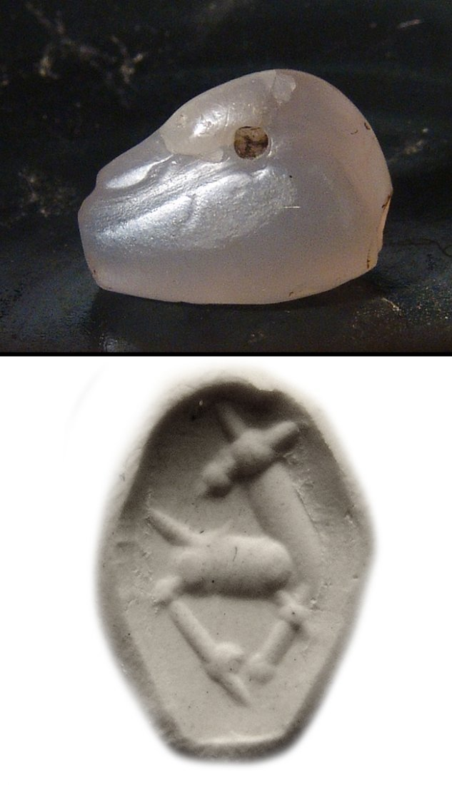 A nice Neo-Assyrian chalcedony stamp seal in swan form