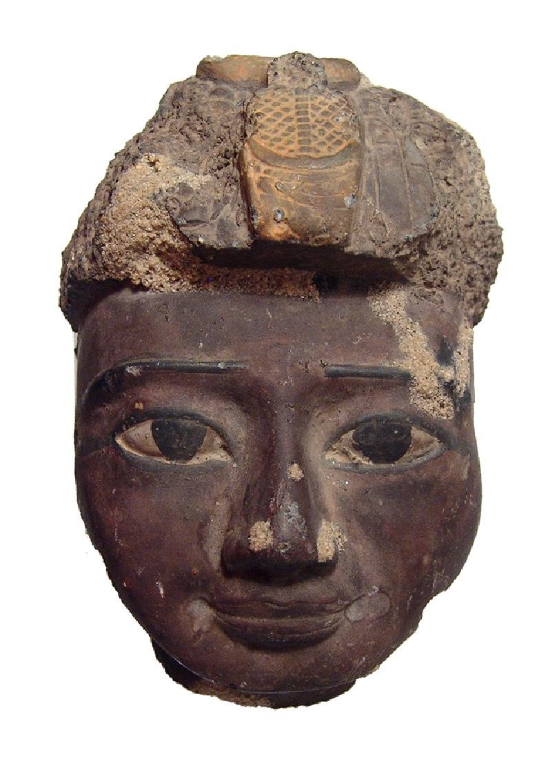 Attractive 20th C. stone head in ancient Egyptian style
