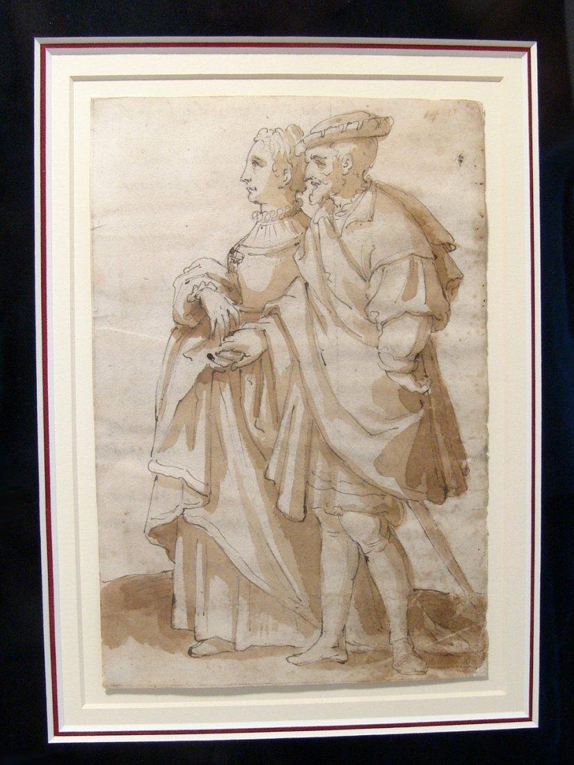 Charles V & Isabella of Portugal, 16th Century drawing