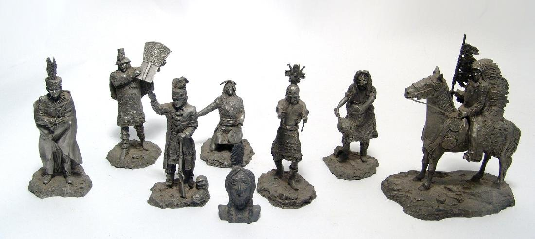 A group of 8 pewter figures from the Franklin Mint