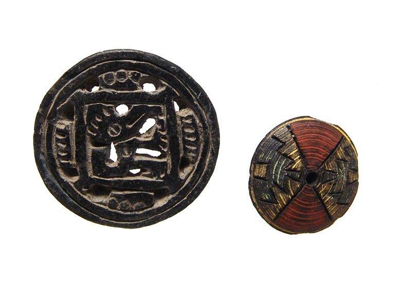 A Pre-Columbian lip plug and earspool