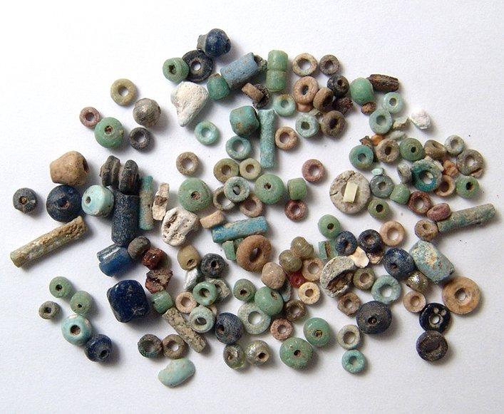 A group of 100+ Egyptian multicolored faience beads