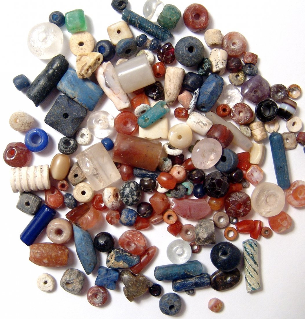 A nice group of 100+ mixed ancient beads