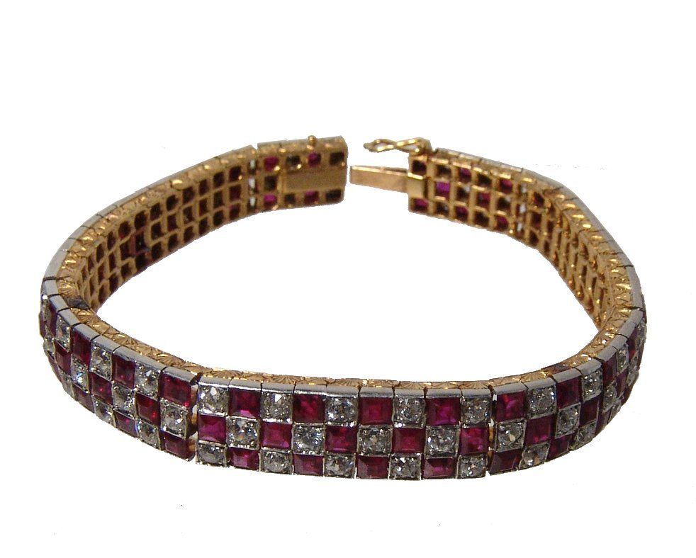 Gorgeous 18k gold, diamond & ruby checkerboard bracelet