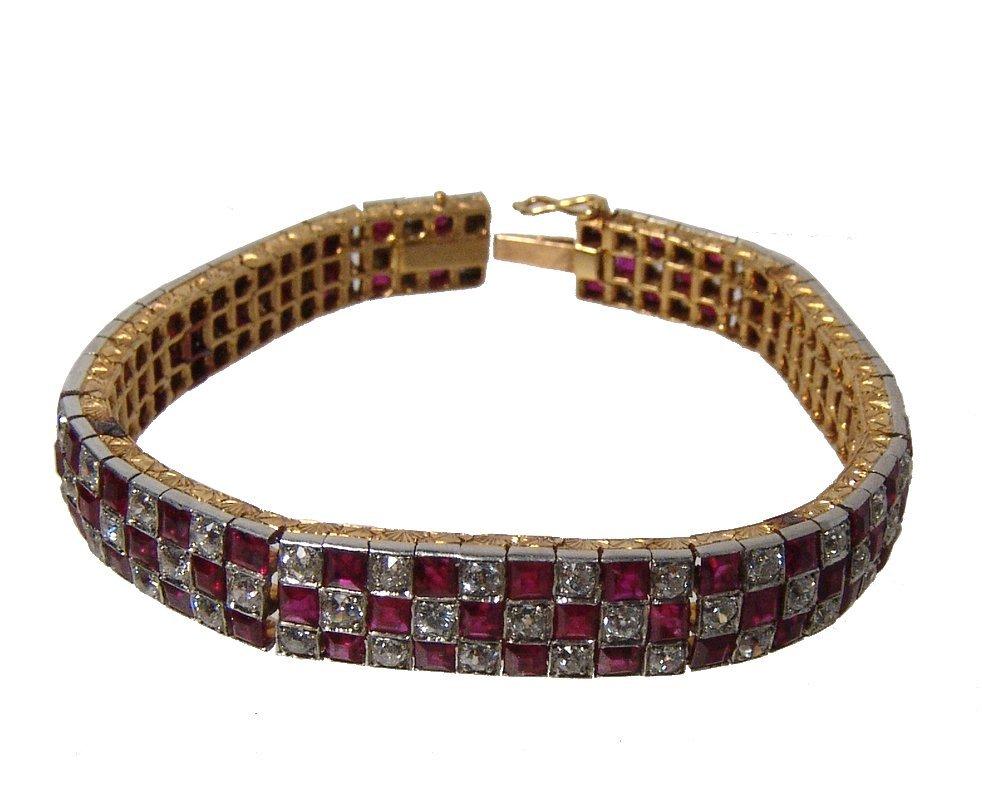 Gorgeous 18k gold, diamond & ruby checkerboard bracelet
