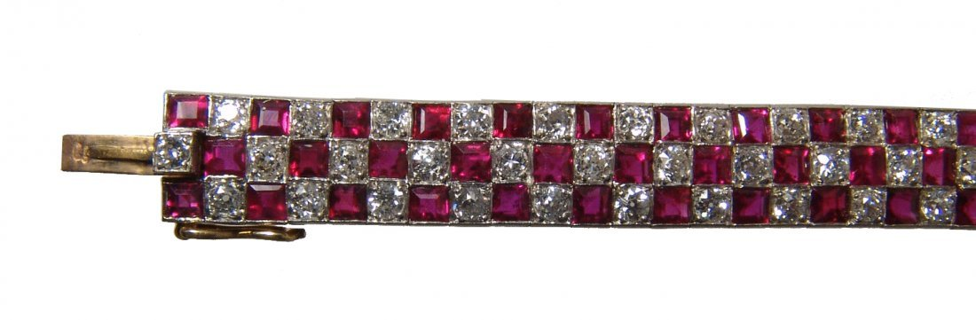 Gorgeous 18k gold, diamond & ruby checkerboard bracelet - 2