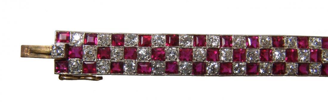 Gorgeous 18k gold, diamond & ruby checkerboard bracelet - 2
