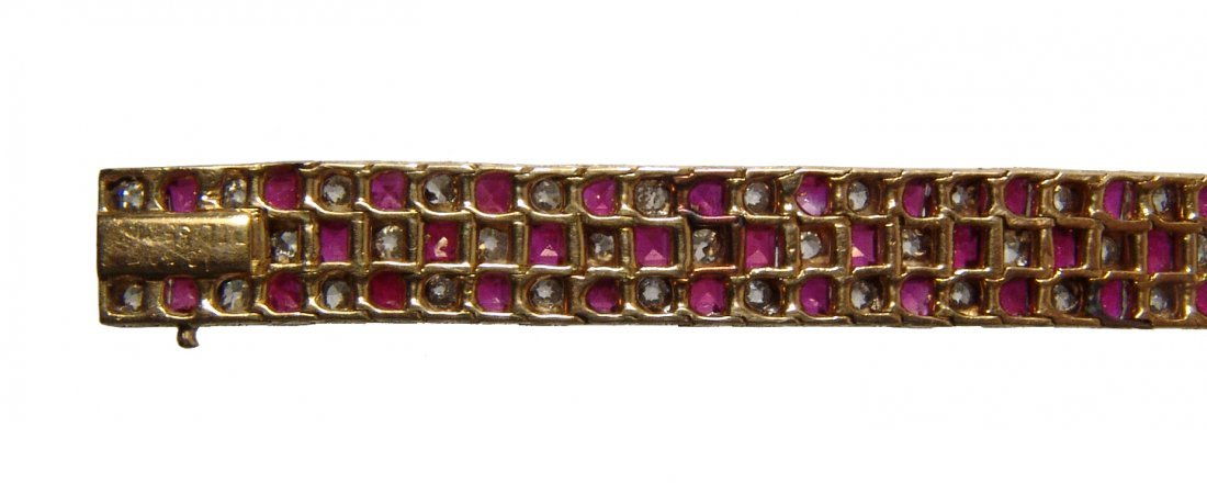 Gorgeous 18k gold, diamond & ruby checkerboard bracelet - 3