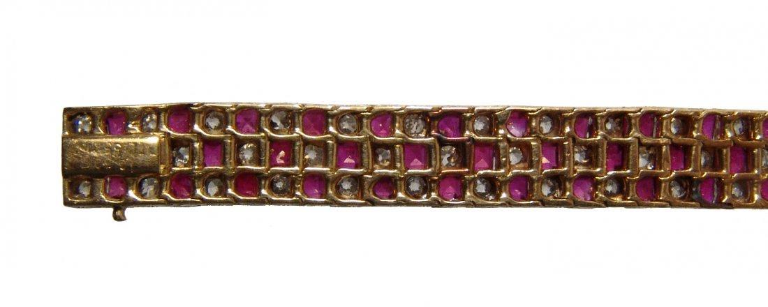 Gorgeous 18k gold, diamond & ruby checkerboard bracelet - 3