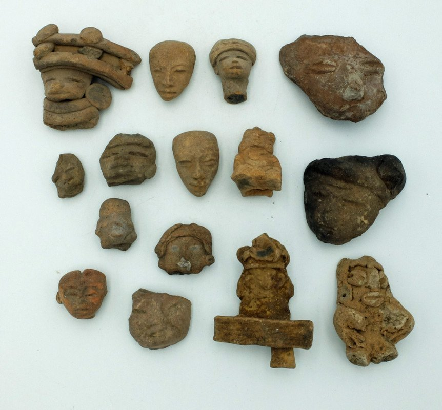 A collection of 15 Pre-Columbian heads from Mexico