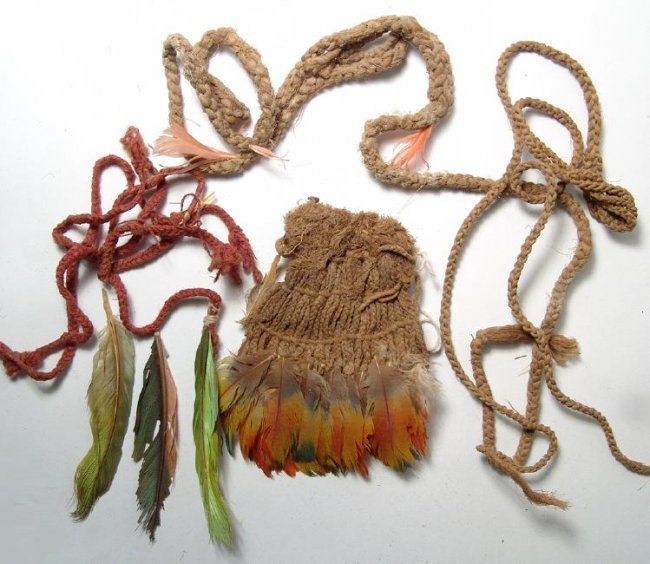 Set of Chimu corded bands adorned with parrot feathers